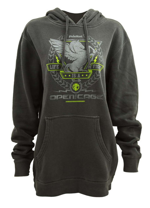 Open The Cage - Priefert - Ladies' Pegasus Charcoal Hoodie