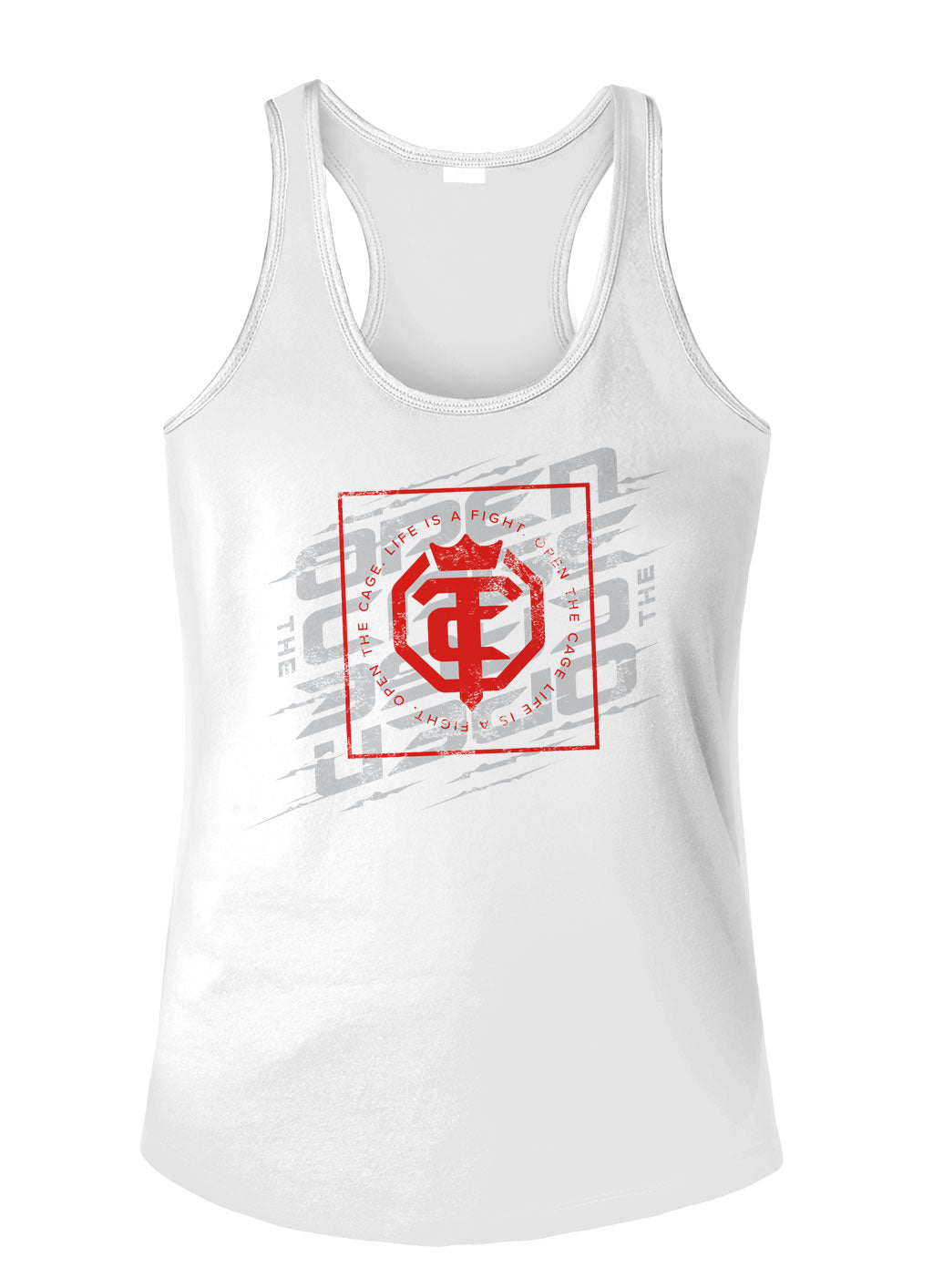 Open The Cage - Defender - White - Women's Racer Back Tank