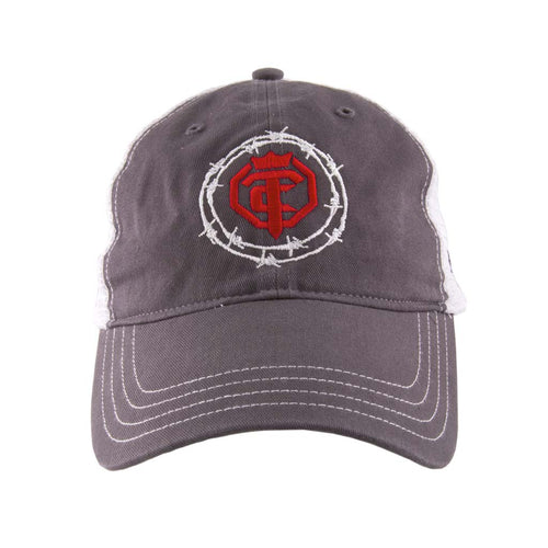 Priefert - OTC - Red Iron - Charcoal-White - Red-White Mesh Snap-Back Hat