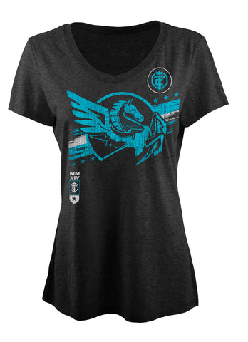 Open The Cage - Priefert - Ladies' Pegasus Tee Shirt - Charcoal