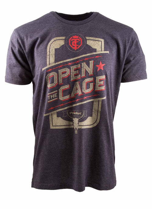 Open The Cage - Priefert Line - Men's Red Star Tee Shirt - Charcoal