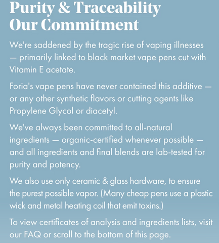 Foria's Commitment to Purity & Traceability