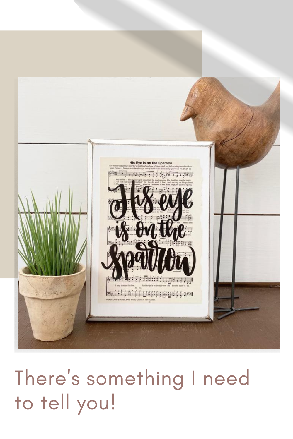 """Picture of Imperfect Dust """"His Eye is on the Sparrow"""" hand lettered hymn sign."""