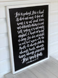 Hand lettered art sign with 1 Corinthians 13