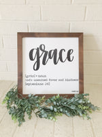 Grace Defined - Ephesians 2:8 // 13x13 wood framed sign