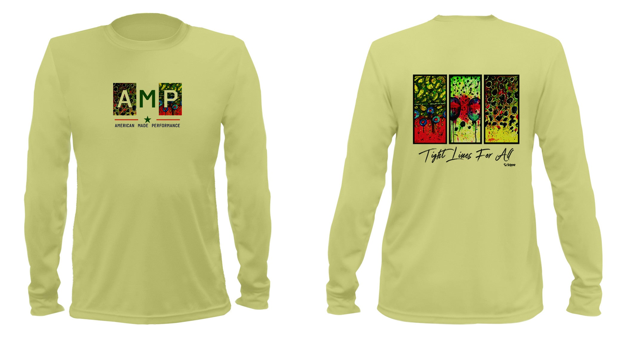 AMP Performance Long Sleeve - Trout Trio Flank