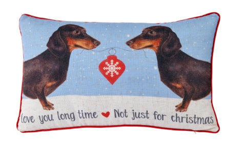 Langs Giftware 4XS792 2 Sausage Dog Christmas Filled Cushion