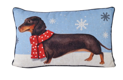 Langs Giftware 4XS793 Sausage Dog Christmas Filled Cushion