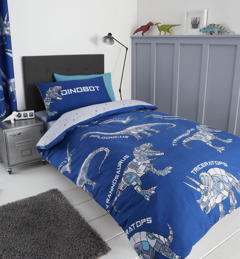 Catherine Lansfield Kids Dinobot Blue Bedding