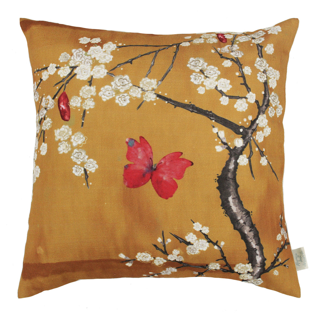 The Chateau Collection - Blossom Digi Ochre 45cm x 45cm Feather Cushion