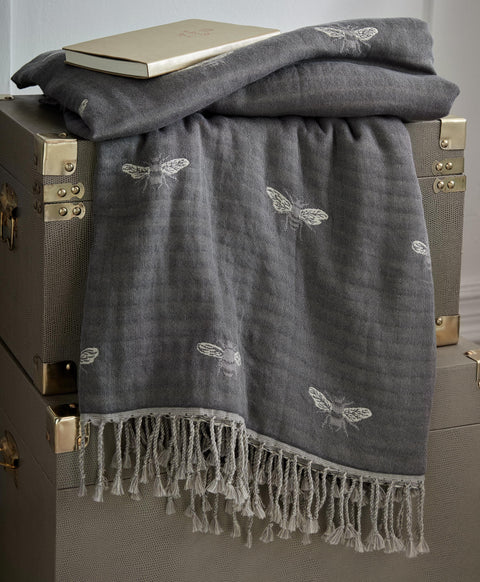 Sophie Allport Bee Granite 150cm x 200cm Throw