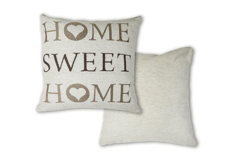 "The Dorchester Collection Chenille Home Sweet Home 17"" x 17"" Filled Cushion"