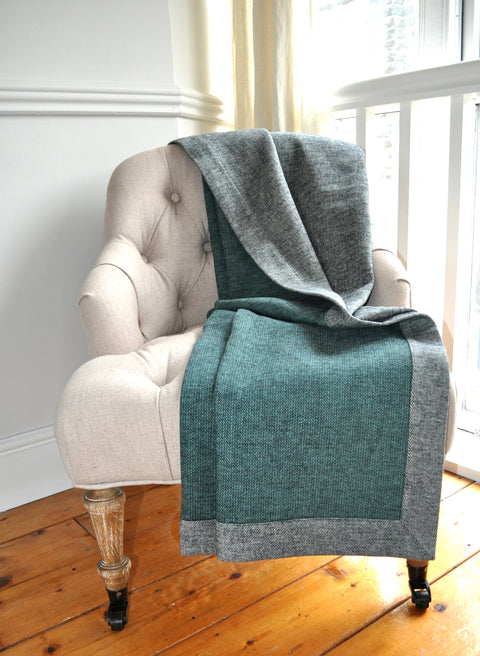 Design Port Croft Grey/Teal 137cm x 187cm Brushed Cotton Throw (ORDER ONLY)