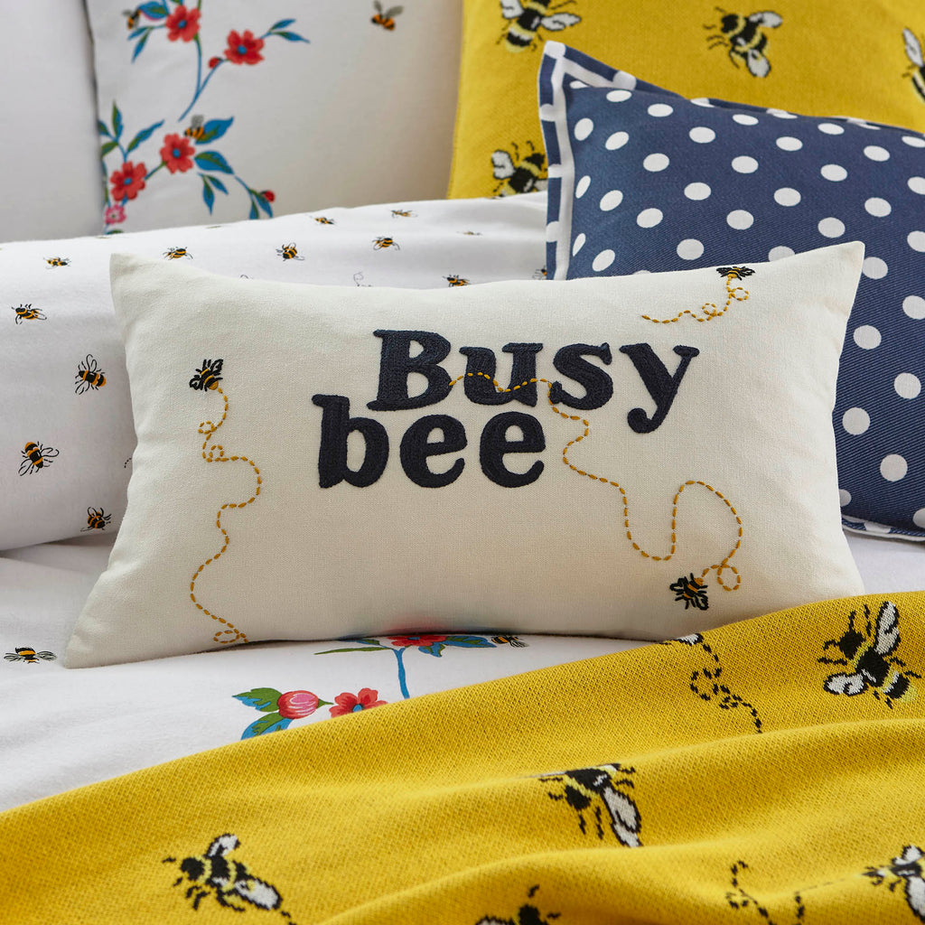 Cath Kidston Busy Bee Cream 30cm x 50cm Polyester Filled Cushion