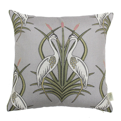 The Chateau Collection - Heron on the Moat Grey 45cm x 45cm Feather Filled Cushion