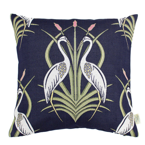 The Chateau Collection - Heron on the Moat Navy 45cm x 45cm Feather Filled Cushion
