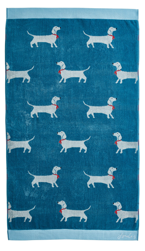 Joules Lost Sausage Dog Blue 100% Cotton Velour Towels