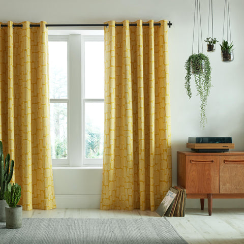MissPrint Home Little Trees Lined Eyelet Curtains