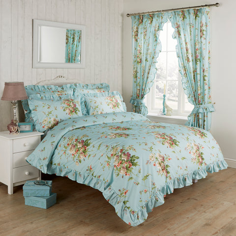 Vantona Madeleine Duck Egg Frilled Quilt Set