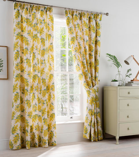Cath Kidston Mimosa Flower Citrine Lined Curtains
