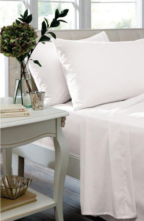 Catherine Lansfield Non Iron So Soft Percale White Sheets