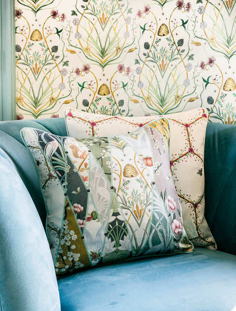 The Chateau Nouveau Wallpaper Multi 43cm x 43cm Feather Filled Cushion