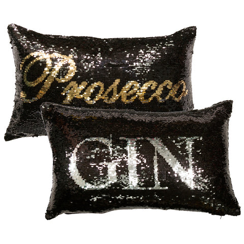 Malini Drinkies Sequin Prosecco/Gin 40cm x 60cm Filled Cushion