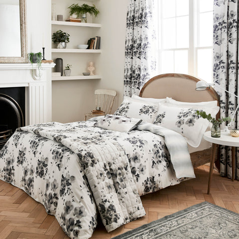 Sanderson Mandarin Flowers Grey Bedding