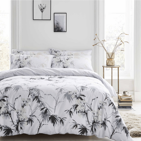 Bianca Kyoto White/Grey Quilt Set