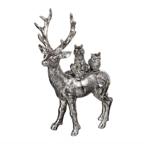 Heaven Sends Christmas TPP145 Silver Resin Stag w Family of Animals