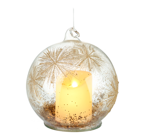 Heaven Sends Christmas BBQ270 Glass Bauble with Light Up Candle