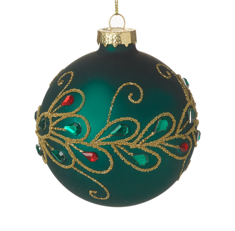 Heaven Sends Christmas CODD569 Green Decorated Glass Bauble