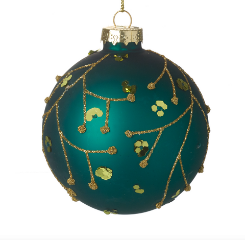 Heaven Sends Christmas CODD570 Green Glass Bauble with Glitter Pattern