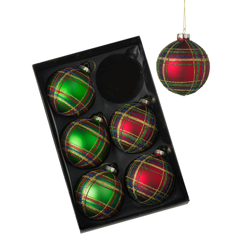 Heaven Sends JNJ081 Set of 6 Red and Green Baubles
