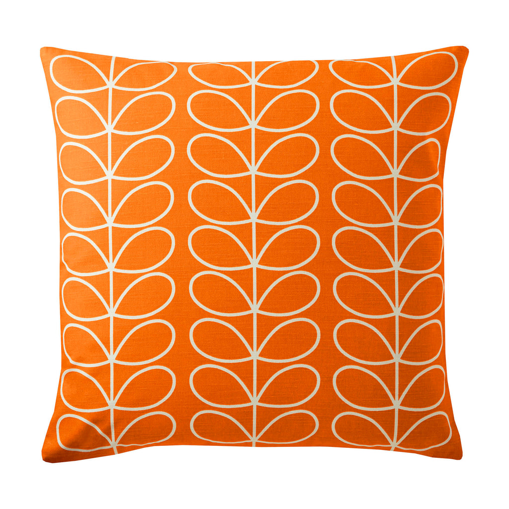 Small Linear Stem Persimmon 50cm x 50cm Feather Filled Cushion by Orla Kiely