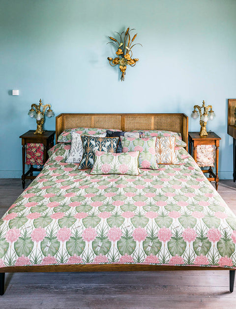 The Chateau Collection Lily Garden Cream/Eau De Nil Reverible Duvet Set by Angel Strawbridge