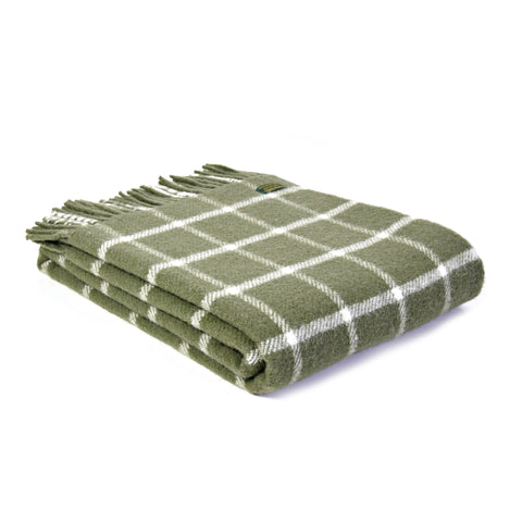 Tweedmill Chequered Check Olive 150x183cm Throw