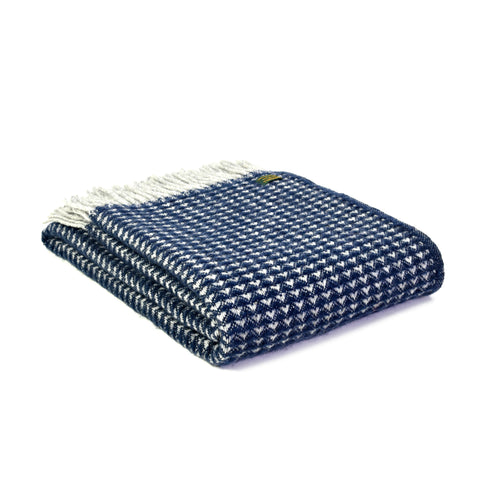 Tweedmill Pure New Wool Treetop Navy 150 x 183cm Throw