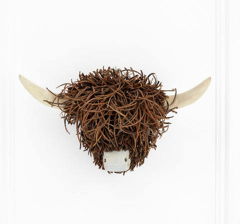 Voyage Maison WS160005 Wooden Sculpture Wall Mounted Highland Cow