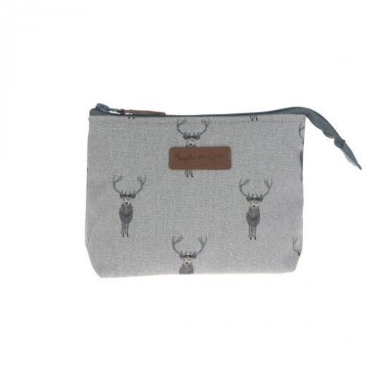 ALL29510 Sophie Allport Canvas Makeup Bag Small Highland Stag