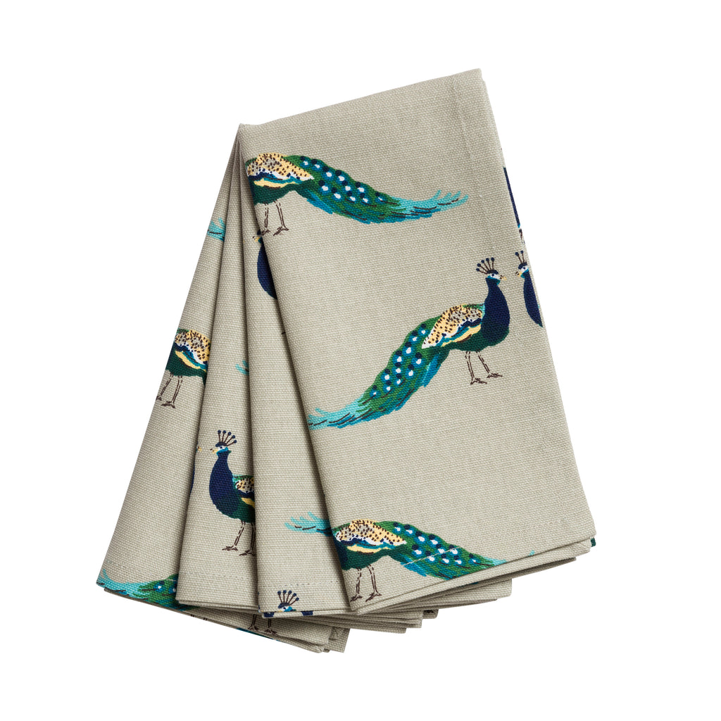 ALL64300 Sophie Allport Peacocks Fabric Napkins(set of 4)