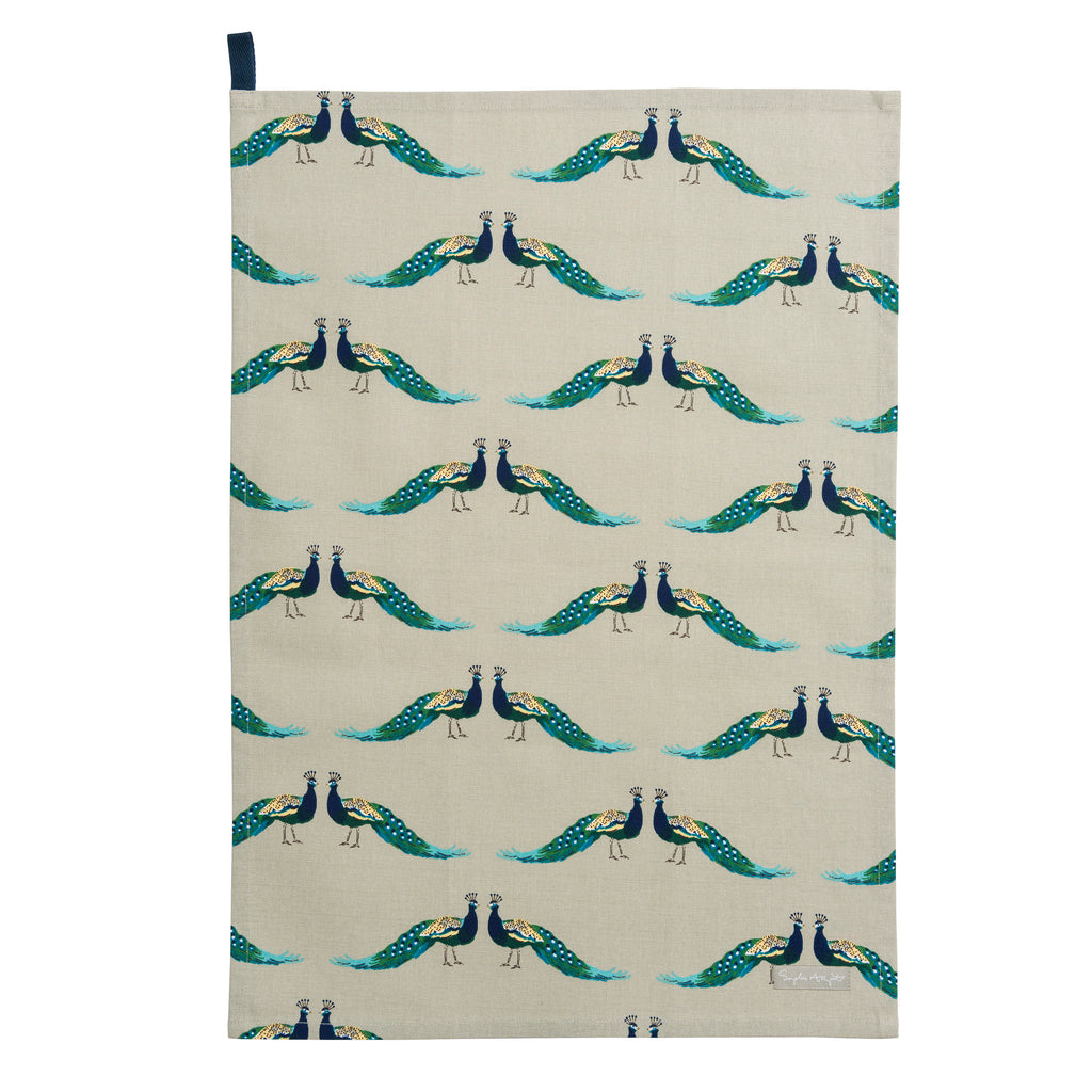 ALL64601 Sophie Allport Peacocks Tea Towel