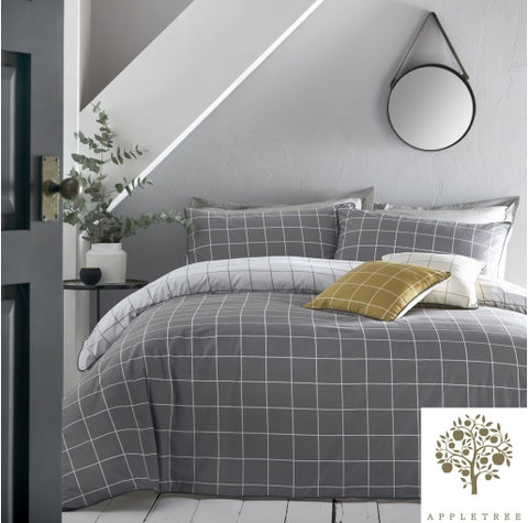 Appletree Harvard Check Grey Duvet Set
