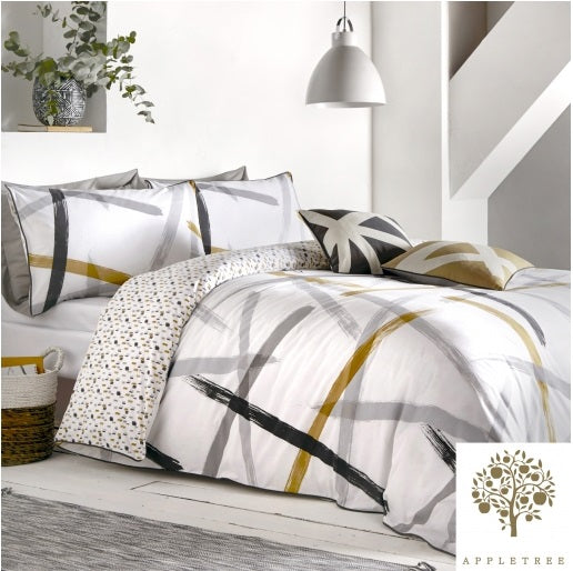 Appletree Leda Grey & Ochre Duvet Set