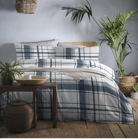 Appletree Brampton Check Flannelette/Brushed Cotton Navy Duvet Set
