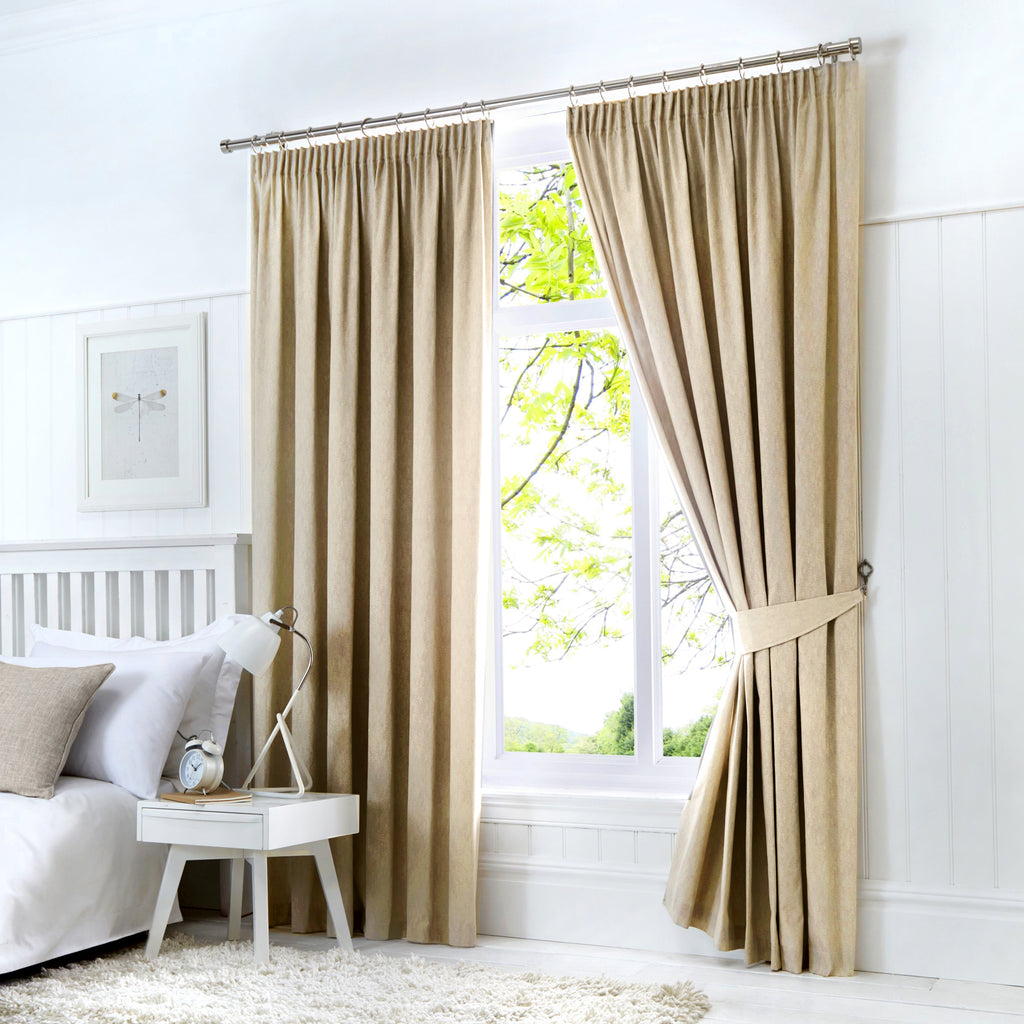 "Fusion Dijon Blackout Lined 3"" Heading Curtains"