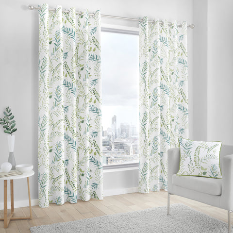 Fusion Fernworthy Green Eyelet Lined Curtains