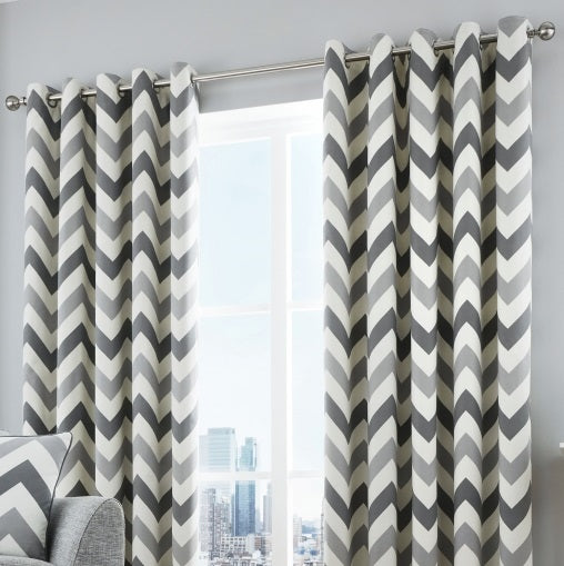 Fusion Chevron Eyelet Curtains