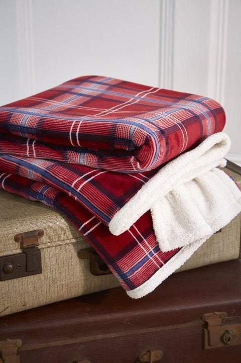 Harwoods Christmas Check Sherpa Red 130cm x 180cm Throw