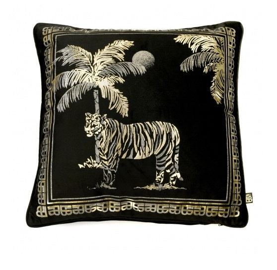 Laurence Llewelyn Bowen Tiger Tiger Black 43cm x 43cm Square Cushion
